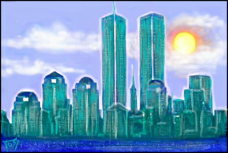 Picture of New York City with Trade Center Drawn to resemble the Emerald City